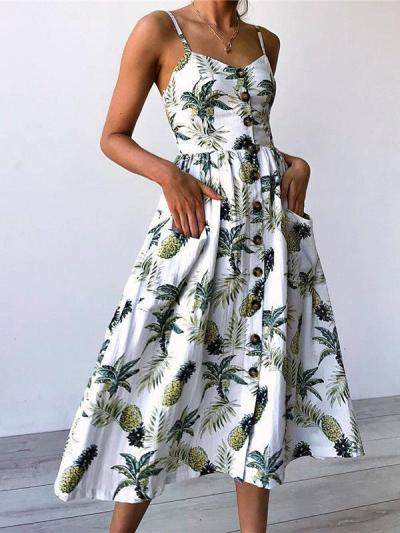 Floral Printed Spaghetti Casual A-line Dress