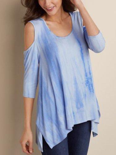 Blue Printed Half Sleeve Shirts & Tops