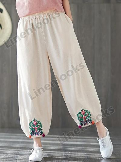 Women Vintage Embroidered Cropped Pants Ethnic Embroidery Cotton Linen Loose Pants