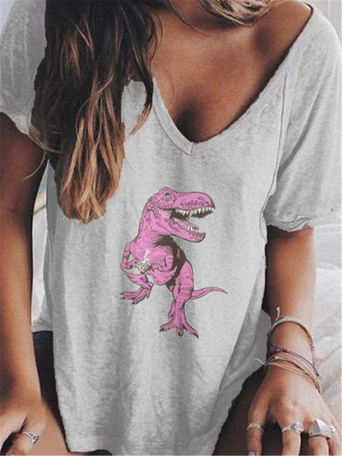 Casual Women Summer V neck Loose T Shirt Tops
