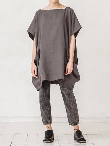 Square Neck Solid Pockets Shirts