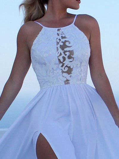 White Plain Eyelet Swing Sweet Summer Dress