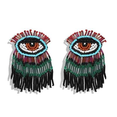 Rainbow Multicolor Raffia Fringed Earrings Women Trendy Girls Ear Accessories Hoop Earrings