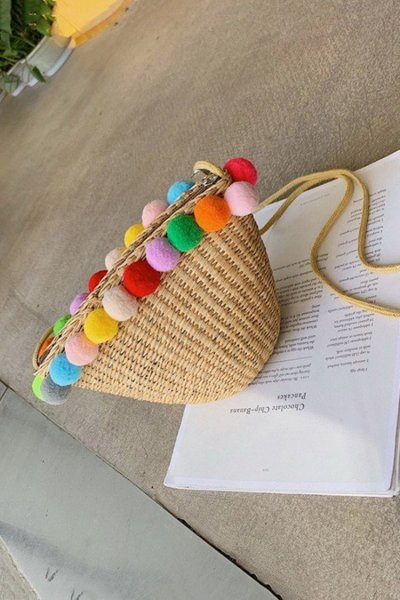 Women's Beach  Color  Zipper Rope Woven Straw Sling Bag Handbag
