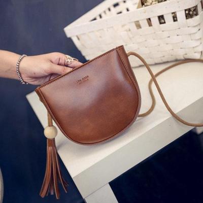 Women Sweet Tassel Oil Leather Crossbody Bag Casual Phone Bag