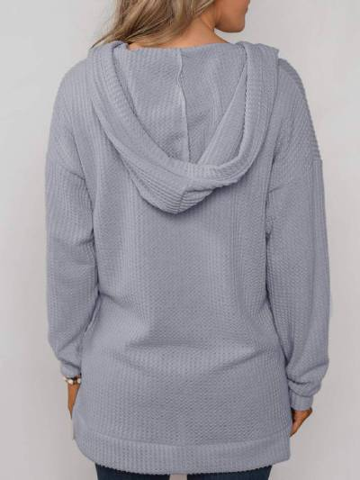 Buttoned Casual Hoodie Outerwear