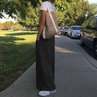 2020 Vintage Women Wide Leg Pants High Waist Pants New Fashion Linen Solid Casual Loose Trousers