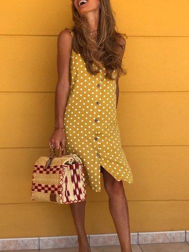 Casual Polka Dots Cotton-Blend Dresses
