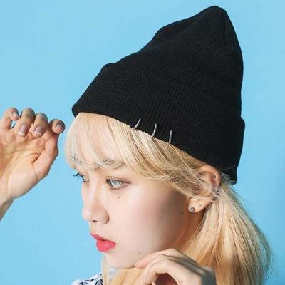 Korean New Ring Rivet Knitted Caps Autumn Winter Beanies Keep Warm Hats for Women and Men 2 Colors
