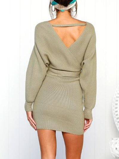 Casual Knitted Sheath V Neck Fall Sweaters Dress