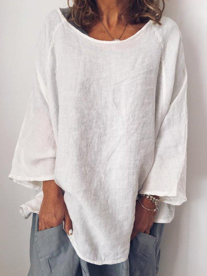 Plus Size Crew Neck Vintage Long Sleeve Solid Blouse