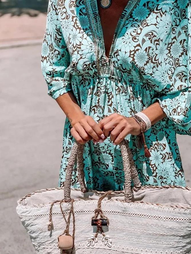 3/4 Sleeve V Neck Printed Dresses