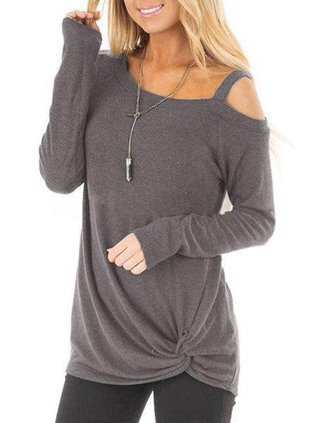Casual Paneled One Shoulder Long Sleeve T-Shirts