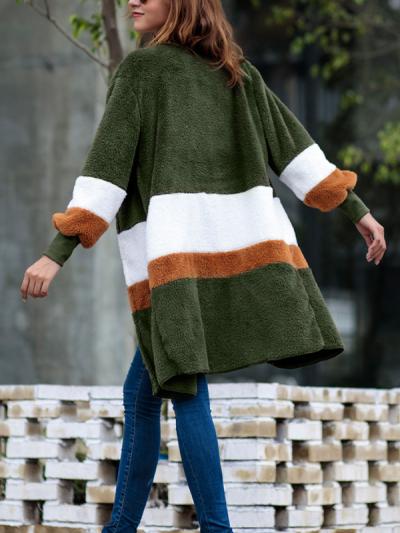 Women Sweater Long Striped Long Sleeve Cardigan Plush Coat