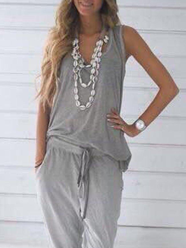 Gray Sleeveless Plain V Neck Cotton Shirts & Tops