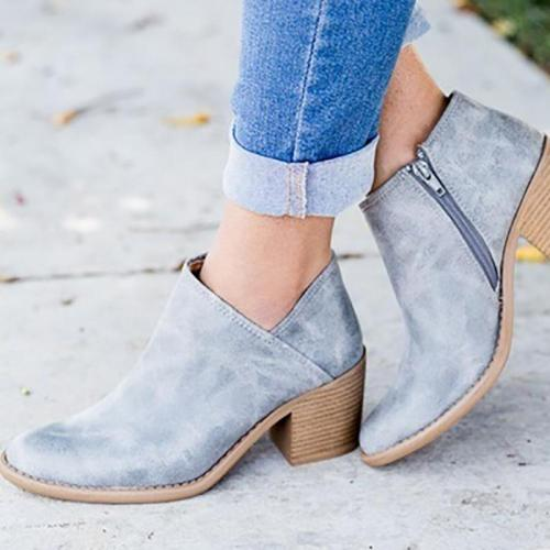 Womens Fashion Ankle Zipper Pointed Toe Chunky Booties