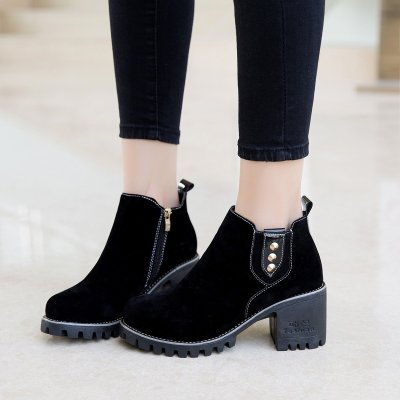 Women Spring Ankle Zipper Chunky Heel Suede Boots