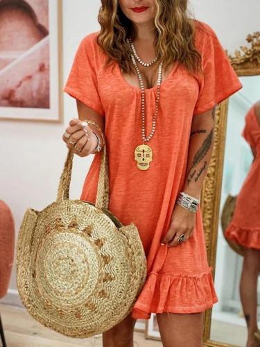 Orange Cotton Casual Short Sleeve Dresses