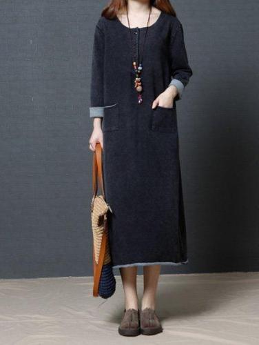Fashhion Long Sleeve Women Loose Linen Cotton Casual Dress