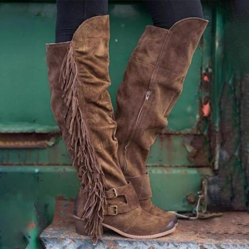 Fringe Suede Calf Boots