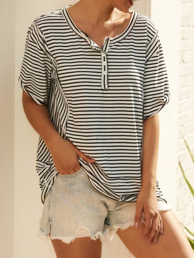 Short Sleeve Striped Shirts & Tops