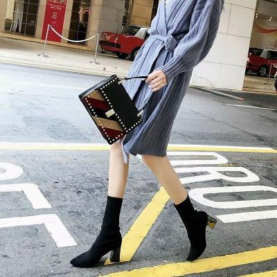 Flyknit Fabric Pointed Toe Dressing Shoes Women Mid-Calf Boots
