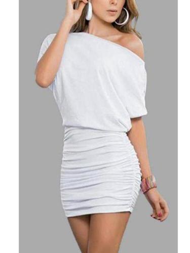 One Shoulder  Plain Pleated Bodice Bodycon Dresses