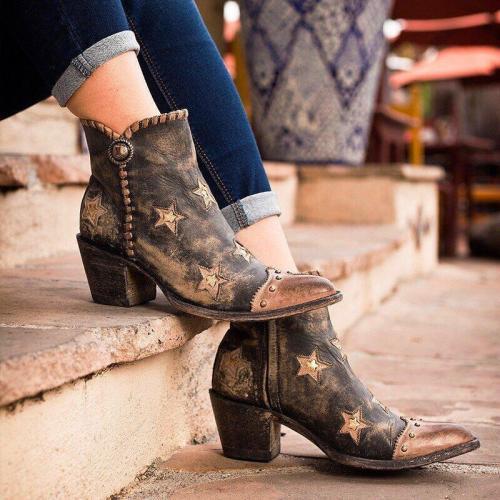 Women Vintage Star Western Ankle Boot