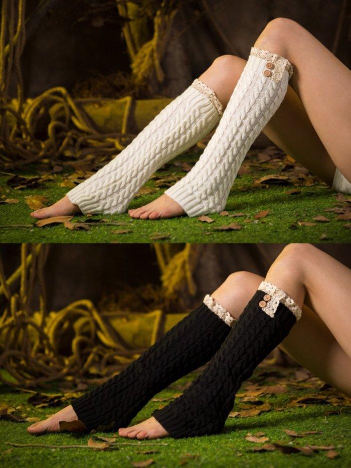 Casual Warm Plain Lace Knee-Socks