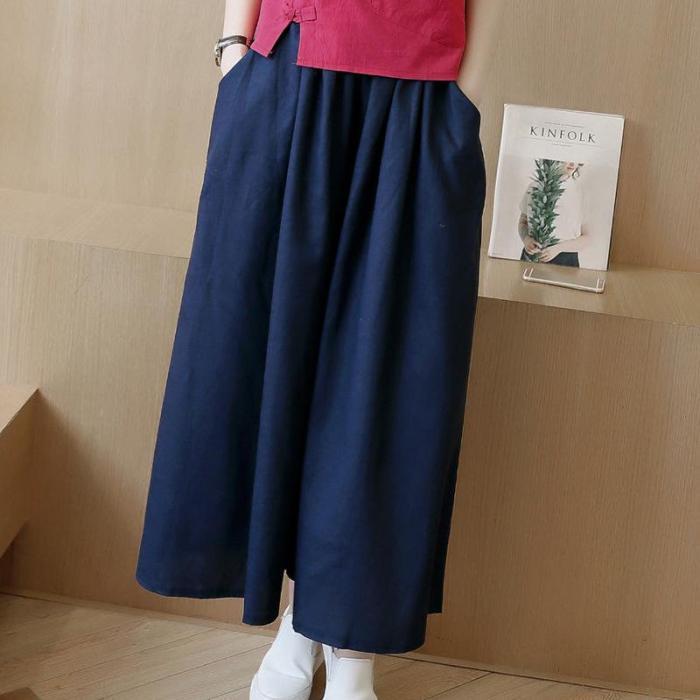 Summer Women Loose Cotton Linen Trouser Casual Elastic Waist Pleated Vintage Wide Leg Pants