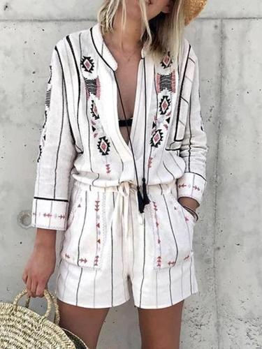 Fashion Turndown Collar Loose Printed Colour Jumpsuits