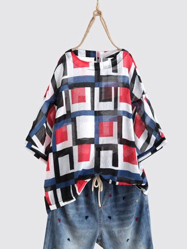 Casual Printed/dyed Round Neck Half Sleeve Shirts & Tops