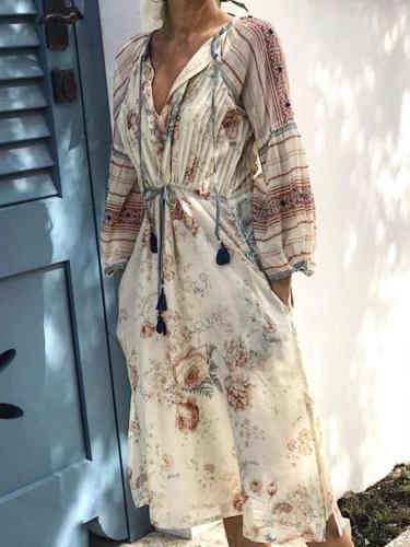 Long Sleeve Floral Printed Dresses