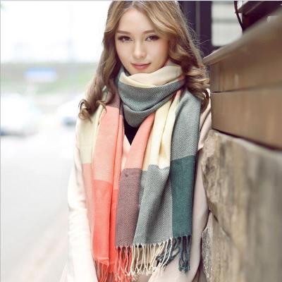 Wool Winter Warm Women Scarf Plaid Thick Blanket Shawls