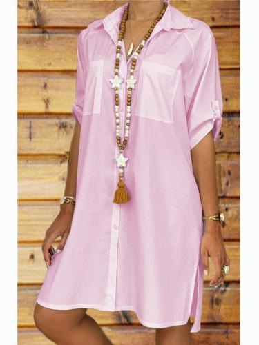 Turn-Down Collar Solid Half Sleeve Casual Dresses