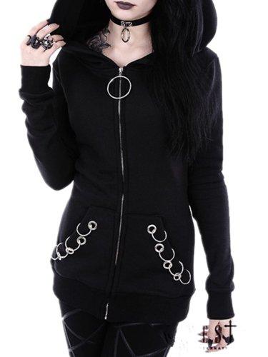 Black Hoodie Zipper Casual Long Sleeve Coat