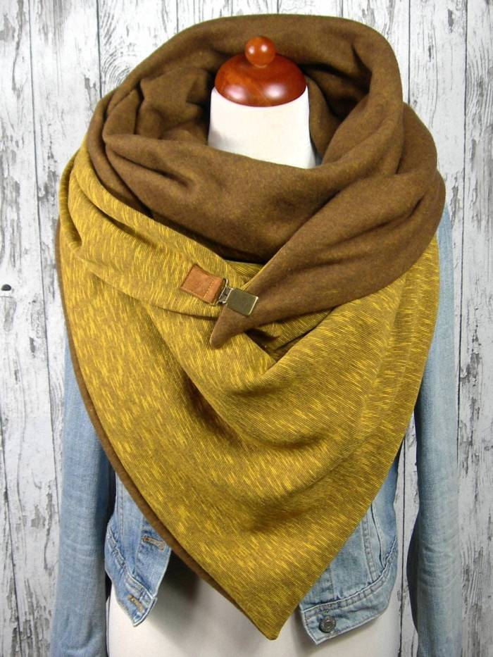 Yellow Cotton Casual Scarves