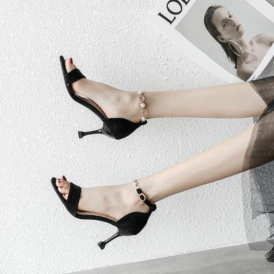 Women Black Buckle Summer Heels Shallow Mouth High Heel Sandal