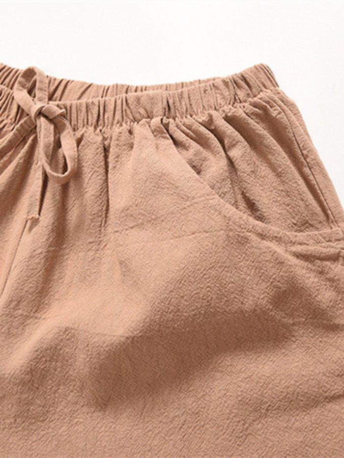 Women Shorts Pockets Drawstring Solid Casual Shorts