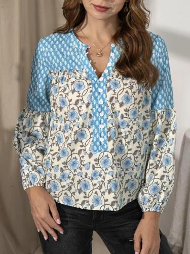 Ladies Dreaming flower Stitching Shirt