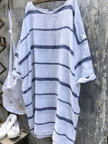 Striped Crew Neck Casual Dresses