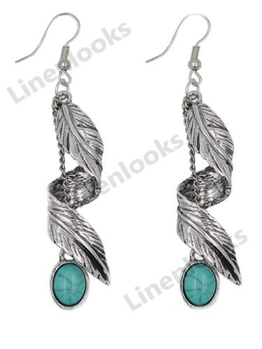 Boho Ethnic Green Resin Stone Drop Dangle Earrings for Women Tribal Vintage Earrings