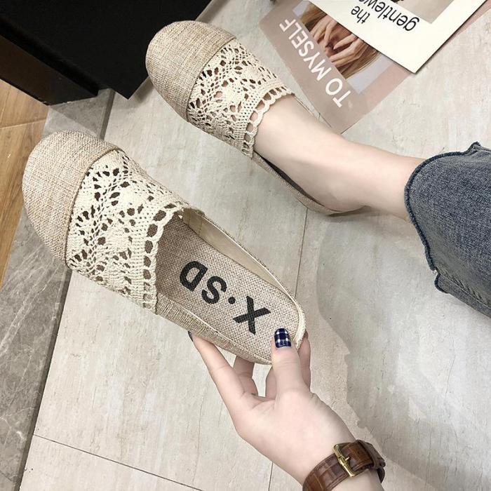 Sandals Slippers Women Summer Retro Linen Lace Hollow Breathable Women's Shoes
