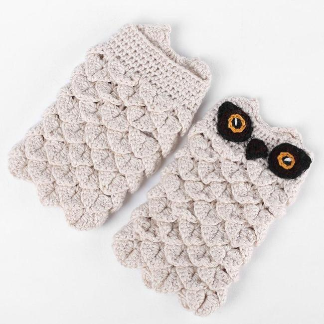Adults Winter Autumn Warm Hand Warmers Owl Knitted Gloves