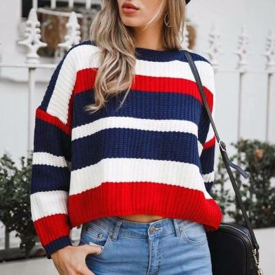 Casual O-Neck Pullovers Striped Computer Knitted Long Sleeve Pullover Sweater