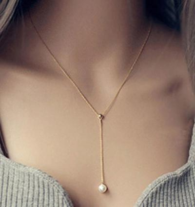 Silver Color Chain With Pearl Pendant Necklace New Style Accessories Pearl Jewelry