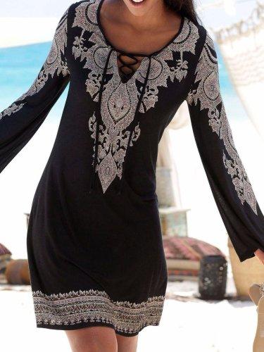 V Neck Black Women Fall Dresses Shift Daytime Geometric Dresses