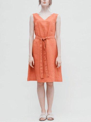 V Neck  Shift Casual Pockets Dress