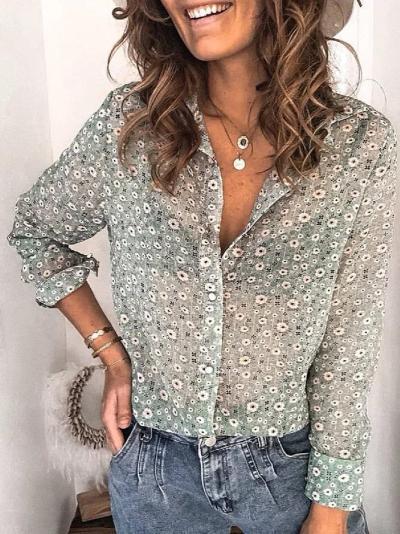 Green Floral Floral-Print Casual Shirt Collar Shirts & Tops