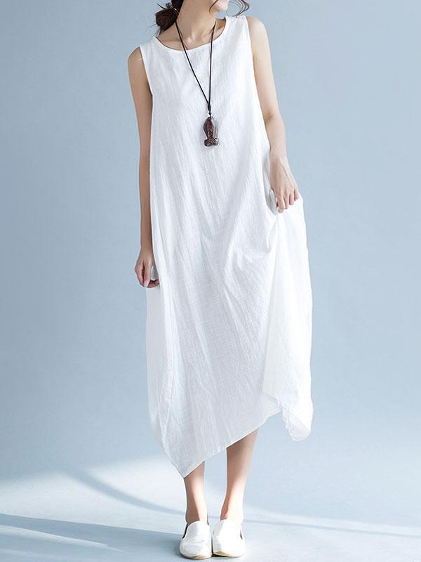 Plus Size Sleeveless Linen Maxi Dress